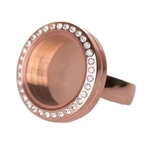 Picture of Rose Gold with Crystals Medium Locket Ring - Size 8