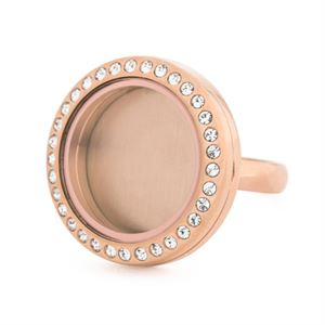 Picture of Rose Gold With Crystals Medium Locket Ring - Size 9